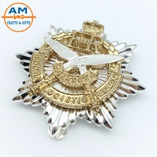High quality zinc alloy 3D lapel pin with two tone plating, Custom Cap Badges with 3D Cross Sword