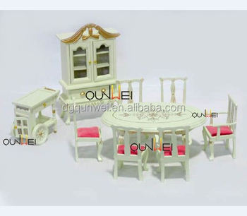 Dollhouse Quality Wooden Miniature Furniture Set Table Chair Cabinet