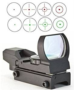 The Global Sportsman Tactical Rifle Shotgun Pistol 4 Reticle Red & Green Dot Open Reflex Sight Scope Fits Any Picatinny / Weaver Base Mount (CQB)
