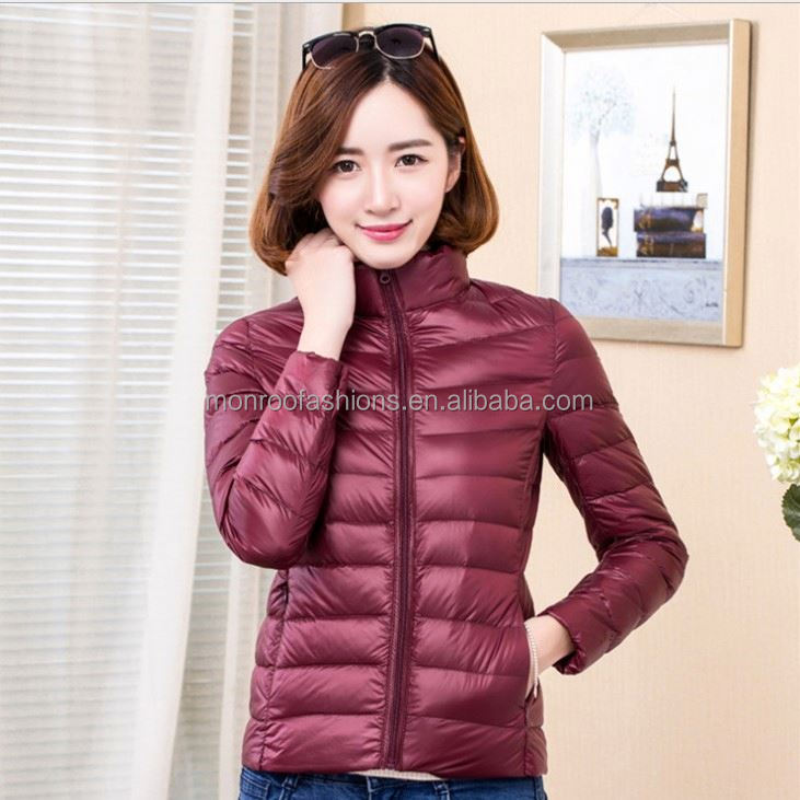 monroo 2018 new design winters light down jacket fashion stand-collar women trench coat