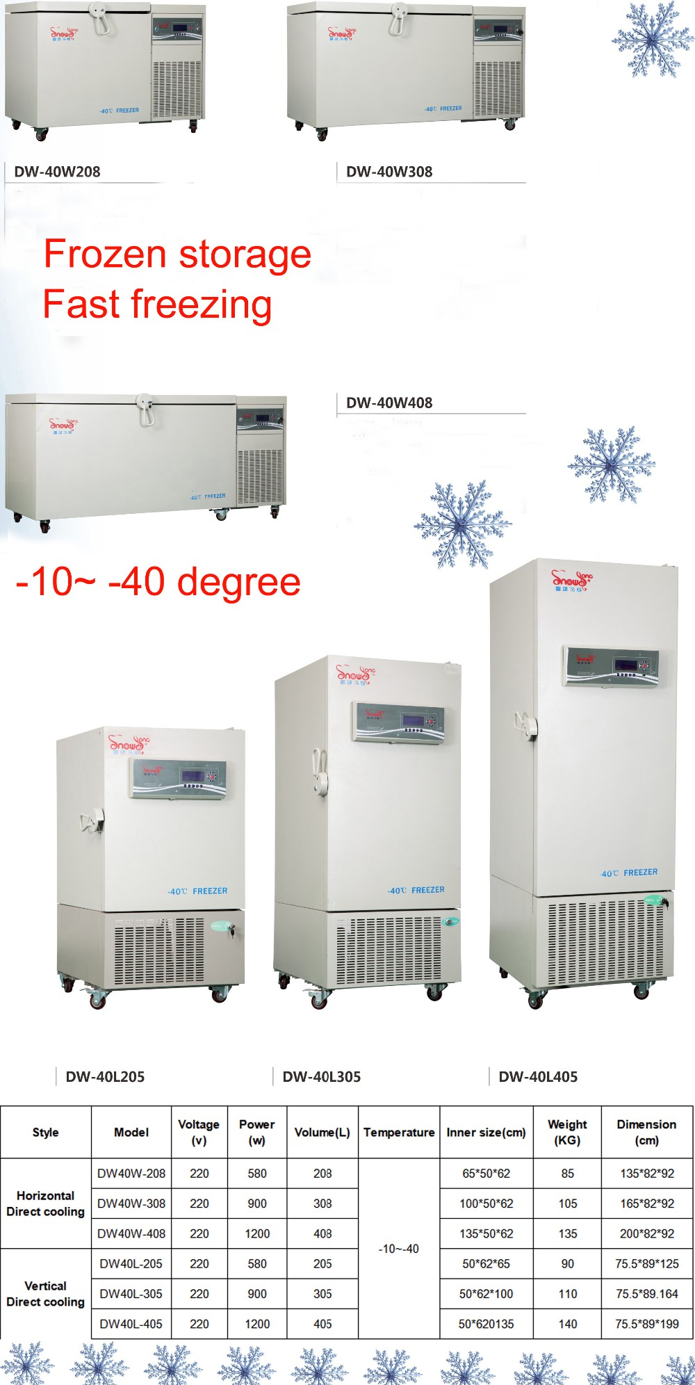 CE  -10~-40 Degree Deep Freezer Chest Freezer Laboratory Refrigerator Freezer