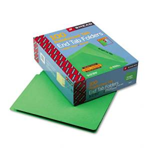 Smead : Colored File Folders, Straight Cut, Reinforced End Tab, Letter, Green, 100/Box -:- Sold as 2 Packs of - 1 - / - Total of 2 Each