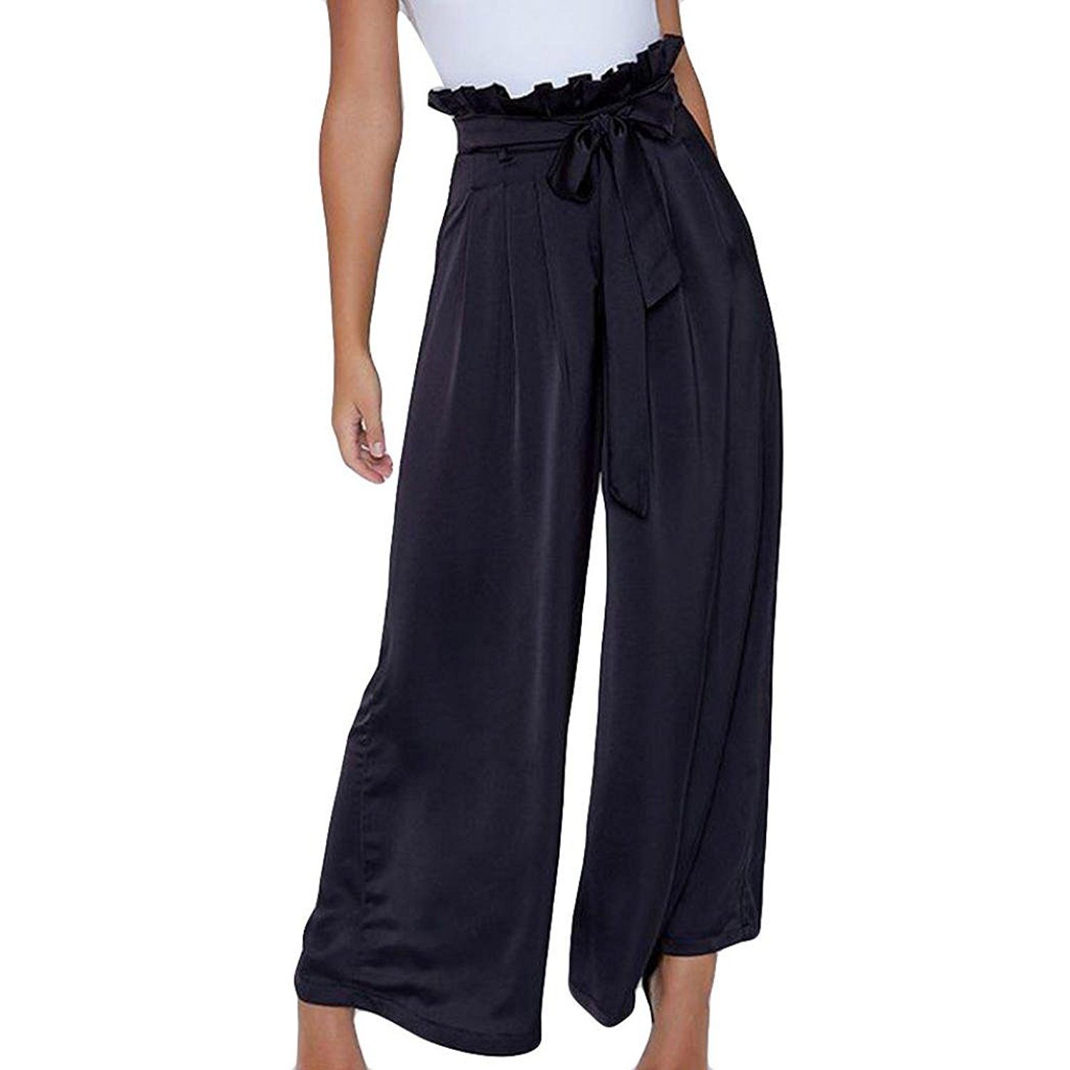 29cd9db365d94c Get Quotations · Challyhope Women's Casual Wide Leg Palazzo Pants Gaucho  Pants Culottes Falre Trousers