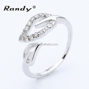 Lady's Fashionable Cheap 925 Sterling Silver Adjustable Leaf Ring With Zircon