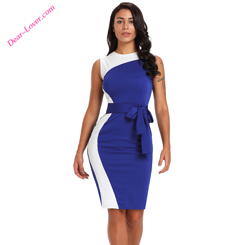 Summer 2018 Blue White Patchwork Belted turkey office women <strong>dresses</strong>