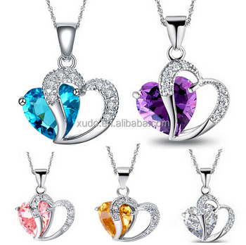 free shipping high quality zircon double heart pendant necklace 5 colors in stock