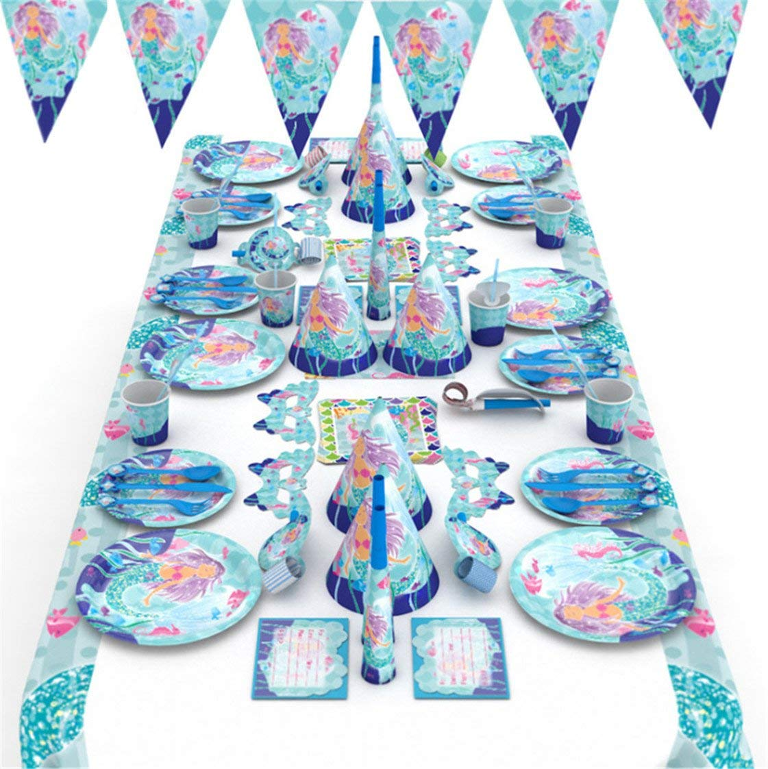 Mermaid Party Supplies Set Birthday Decorations Pack Bundle With Disposable Tableware For 6 Guests
