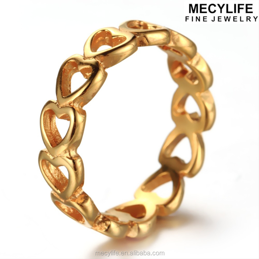 MECYLIFE Fashion Hollow Gold Hearts Surgical Steel Jewelry Ring