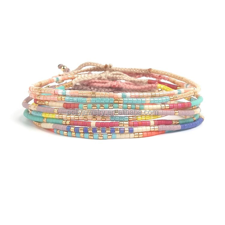 Delicate Small Seed Beaded Bracelet Exotic Custom Jewelry Bracelet Colorful Multilayered Woven Rope Bracelet