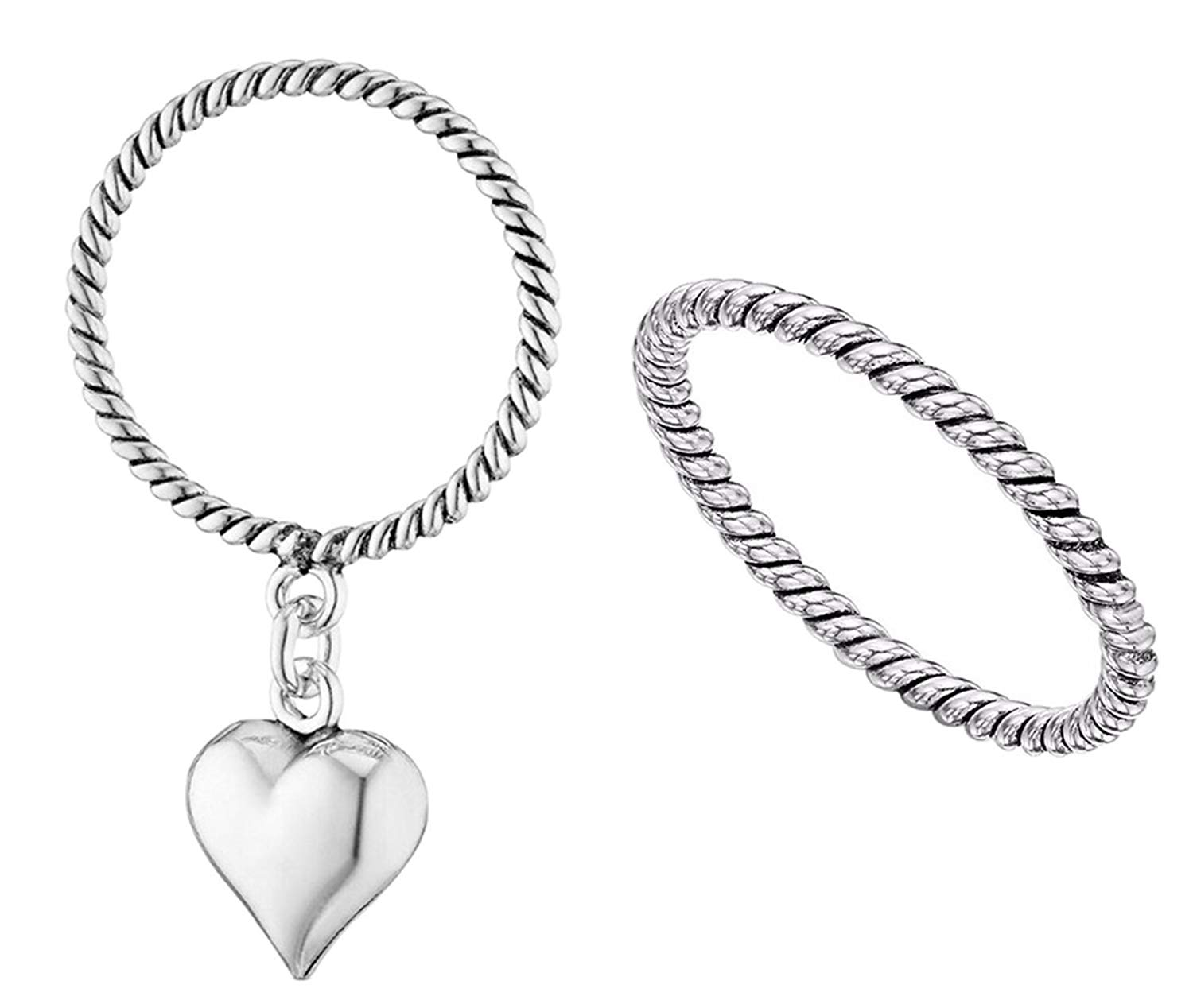 New Stackable Ring Set Heart & Rope Ring Set Sterling Silver Ring 925 Size 5