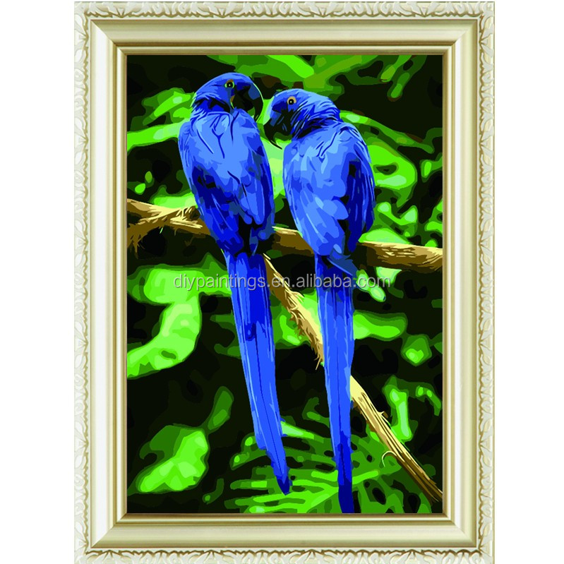 blue love bird feather handmade artistic wholesale diy oil painting art on canvas by numbers for home decoration a179