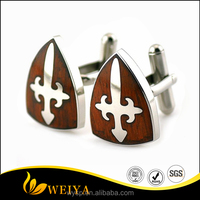 Stainless Steel Red Wood Shield Shape Cufflinks For Men