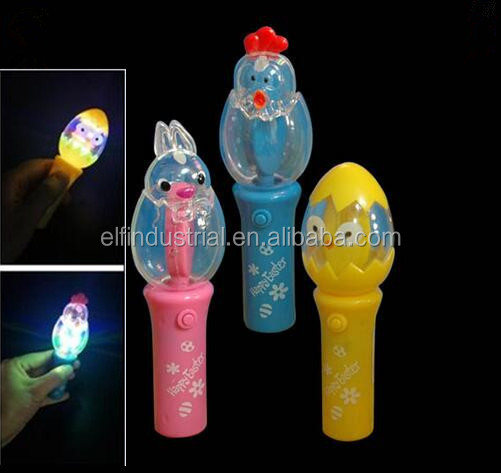 China Promotional Popular Kid Toys Amazing Rainbow Mini LED Easter Spinning Wand Light Easter Led Spinning Top Toy