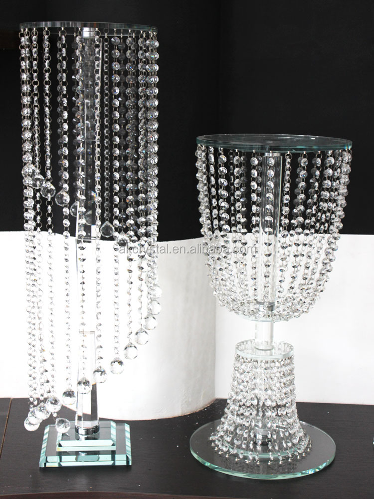 Wedding crystal centerpieces, artificial tall crystal flower or cake stand with crystal beads, event & party supplies