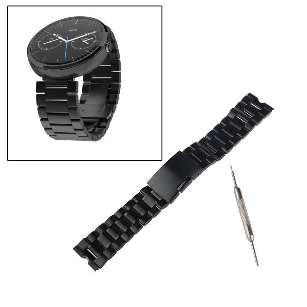 Мужчины и женщины черный 22 мм из нержавеющей стали металл группы часы ремешки для наручных часов ремешок браслет для Motorola Moto 360 смарт часы + инструменты