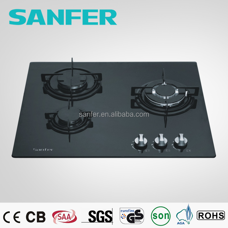 Tempered Glass Panel 3 Burner Gas Stove