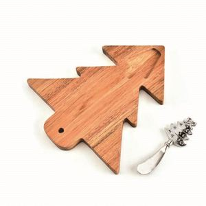Christmas Tree Shape Cutting board rubber wooden chopping board for Christmas Gift