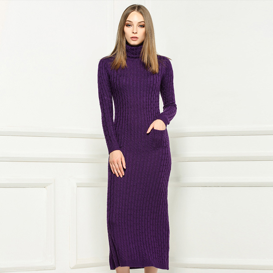 haute qualit hiver 2015 designer laine maxi robe femmes manches longues pull en tricot. Black Bedroom Furniture Sets. Home Design Ideas