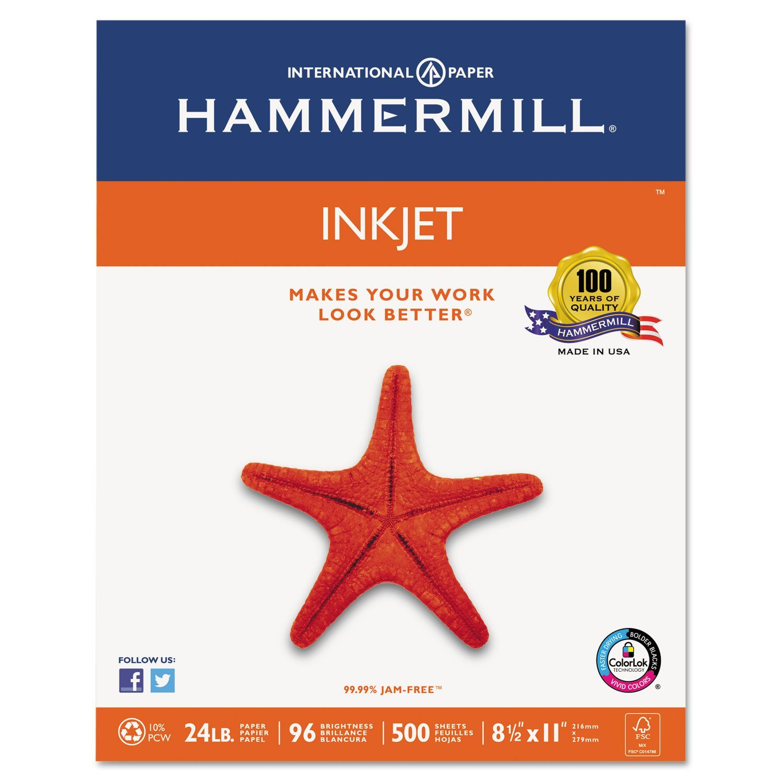Hammermill - Inkjet Paper, 24lb, 96 Bright, 8-1/2 x 11quot; - Ream (Case Pack of 4)