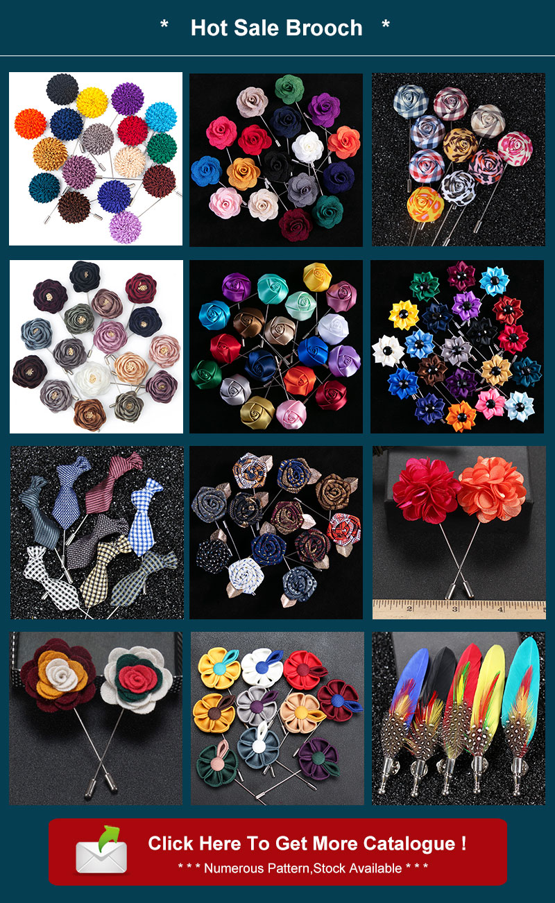 Free Shipping Brooch Flower Lapel Pin 9 Colors Fabric Silver Plated Brooches Dress Accessories For Formal Tuxedo Broches