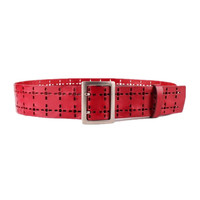 Rectangle Buckle Hollow Cross Holes Leather Wide Waist Belt