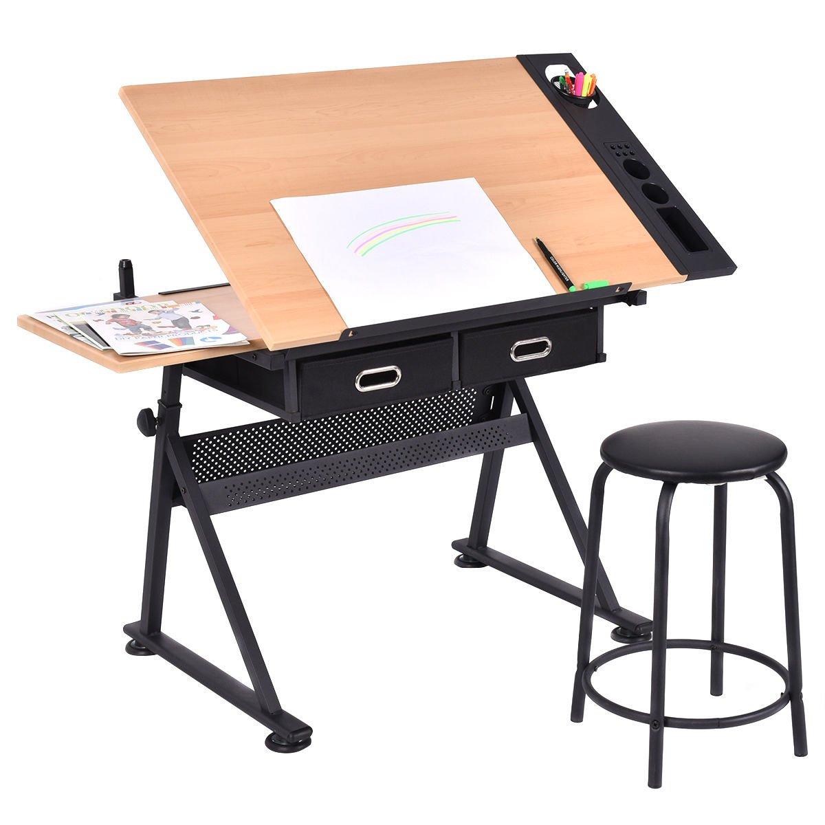Strange Buy Tangkula Drafting Desk Drawing Table Adjustable With Creativecarmelina Interior Chair Design Creativecarmelinacom