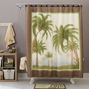 Palm Cove Fabric Shower Curtain