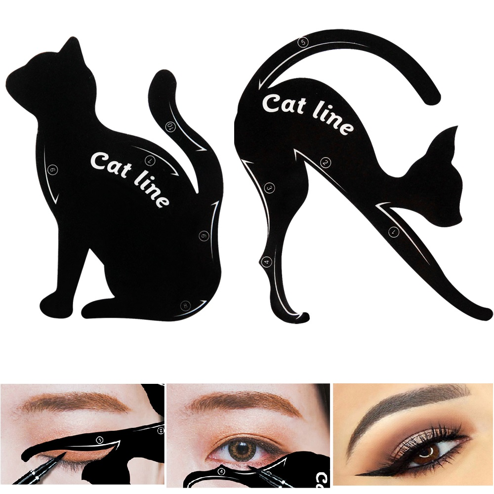 2pcs/Set Cat Eyeliner Eyeshadow Stencils Templates Make Up Tools For Eye Makeup Cat Eye Line Guide Cosmetic
