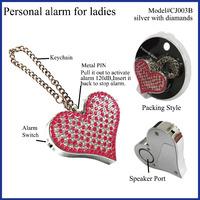 CJ-003B personal alarm keychain pink, personal alarm bracelets panic alarm for ladies