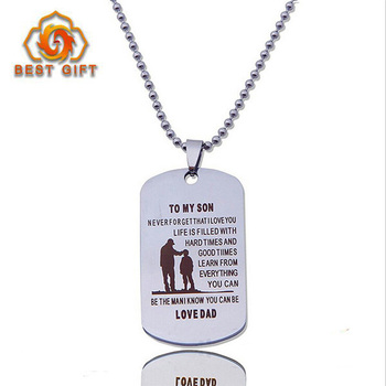 Custom Birthday Gift Father And Son Love Best Metal Blank Zinc Alloy Dog Tag Necklace