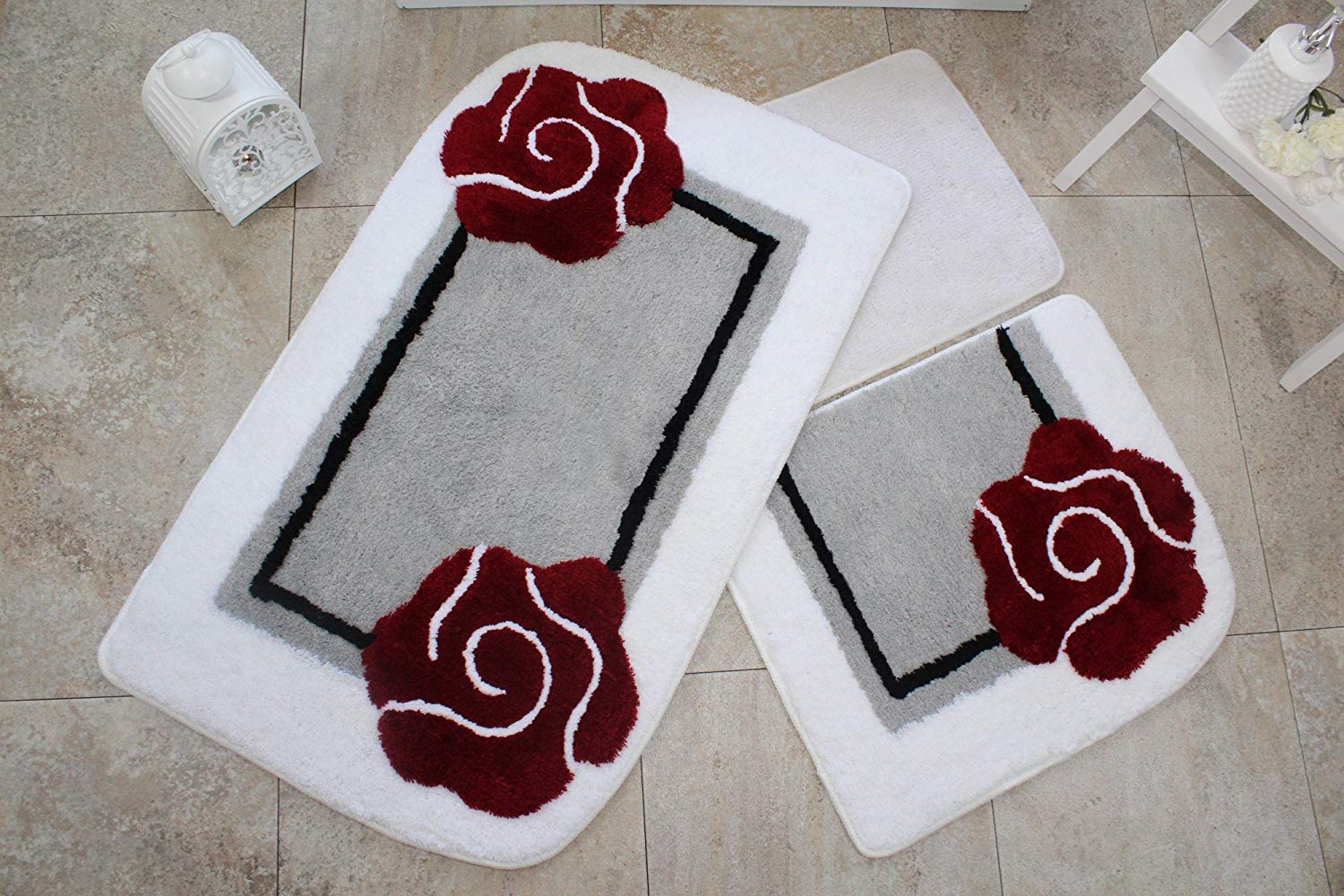 "LaModaHome 3 Pcs Bathmat/Rug Set 100% Acrylic/Antibacterial & Non-Slip Base/Machine Washable/Big Mat Size (23.6"" x 39.4"") Soft Absorbent Design Pattern Comfortable Red Flower"