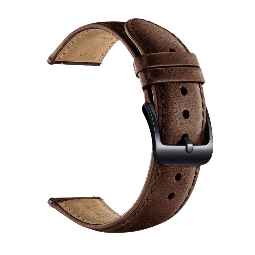 20mmWatchBand, LEUNGLIK Quick Release Leather WatchBands with Black/Brown/Gray Stainless Pins Clasp