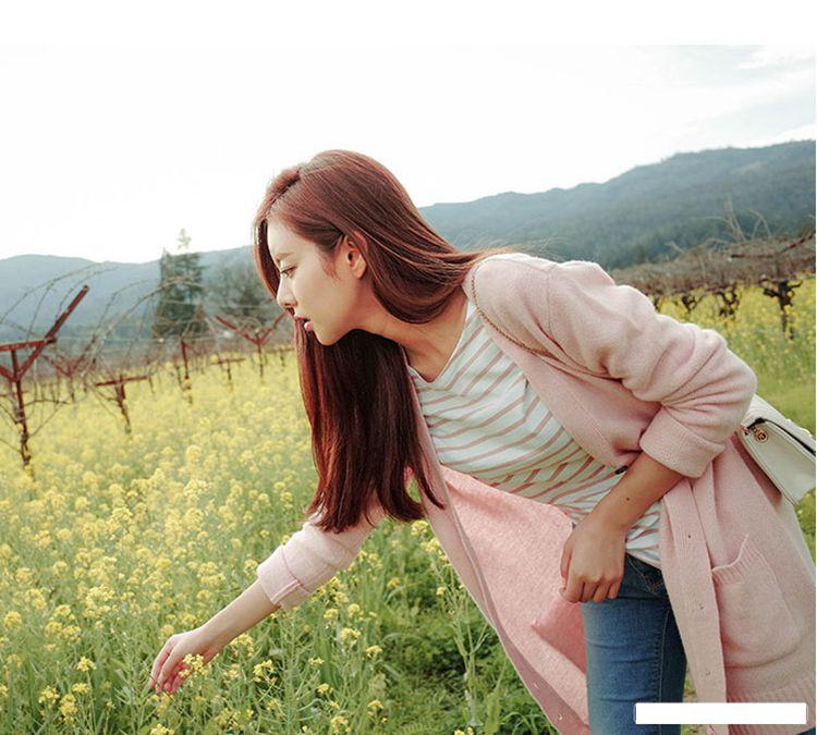 a89856e06 The poem Jia en Korean women spring sweet loose coat sweater V ...