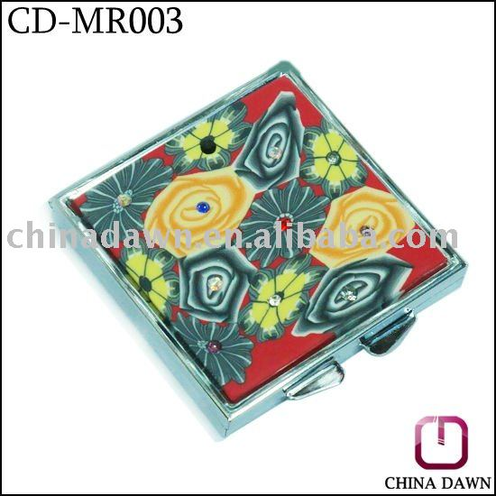 soft clay fashion makeup mirror with diamond CD-MR003