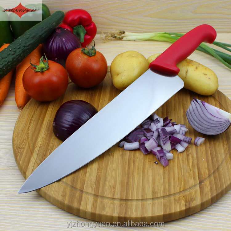 ZY-B1127B 10 inch multi-functional chef knife kitchen knife with comfortable red PP handle