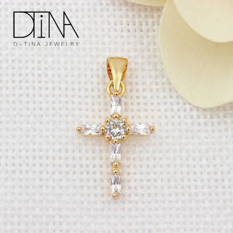 18k Gold plated white Gemstone Cross <strong>Pendant</strong> Fashionable Catholic <strong>Pendant</strong>