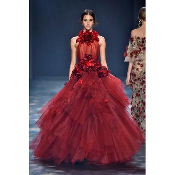 f29fffdc1b0e Stunning Burgundy Evening Wear 2018 Ladies Gown Formal Celebrity Dress High  Neck 3D-Flower Party