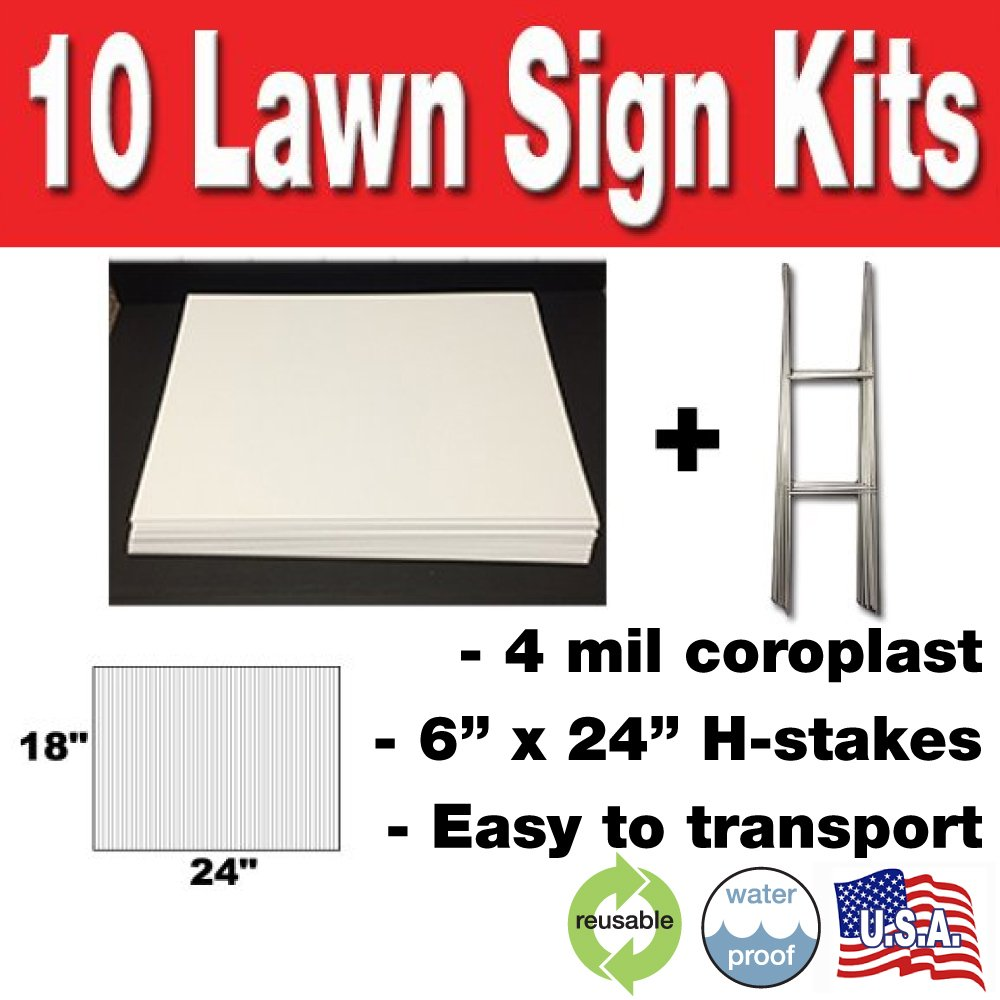 The 14 In X 18 Corrugated Plastic Blank Sign Is Durable Enough To Be Used Outdoors It Comes With An H Frame Stand For Mounting This