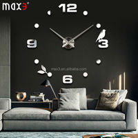 new arrival 3d home decor quartz circular diy wall clock living room needle metal 20 inch modern fashion