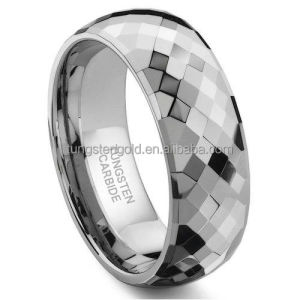 Wholesale Jewelry Supplies China 8MM Men's Tungsten Carbide Faceted Wedding Ring Jewelry