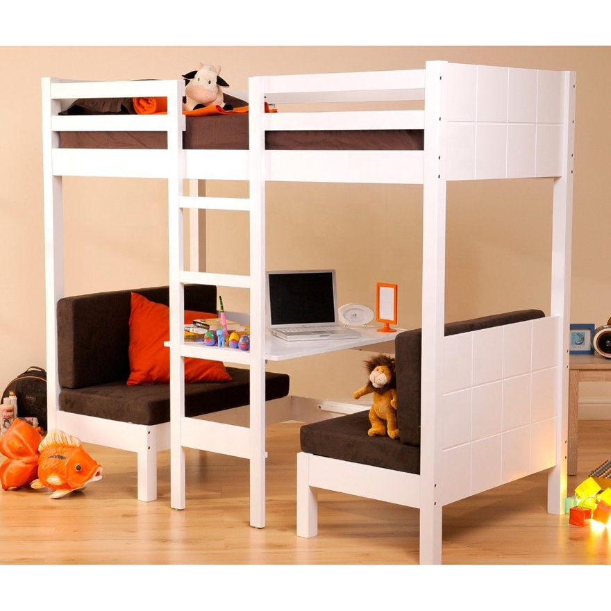 Px El192 Factory Supply White Solid Wooden Bunk Bed With 2 Foam Futon Study Desk Cheap Price Furniture
