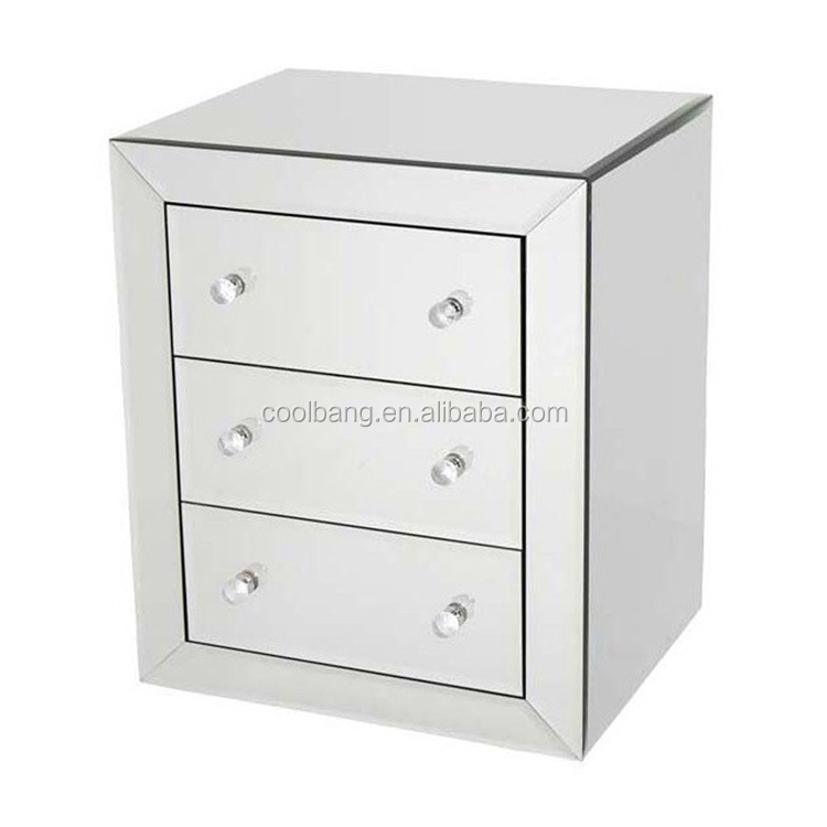 Modern high quality mirrored chest cabinet nightstand with 3 drawers