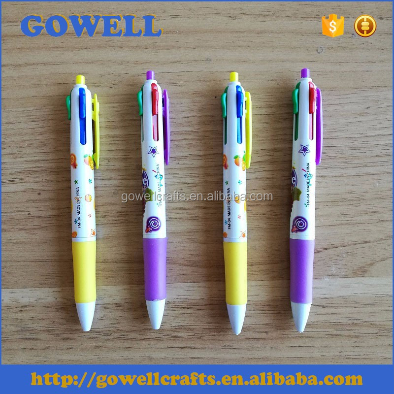4 color plastic cartoon fruit ball point pen