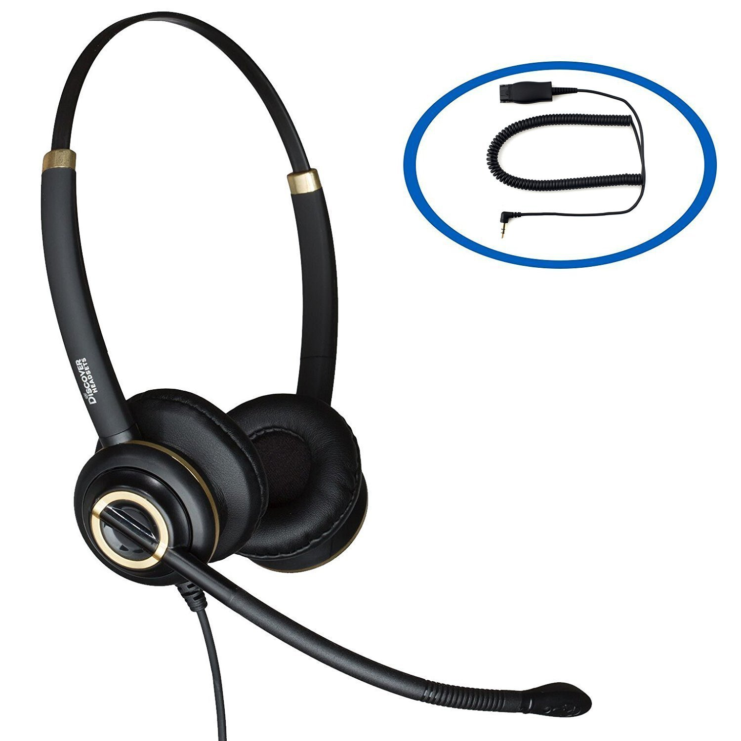 Discover D712 Binaural Headset With 2.5mm Connection For Polycom IP320, IP330, IP321, IP331 and Soundpoint Pro, Cisco SPA 303, 501G, 502G, 504G, 508G, 509G, 525G 512G, 514G and 525G2 Telephones