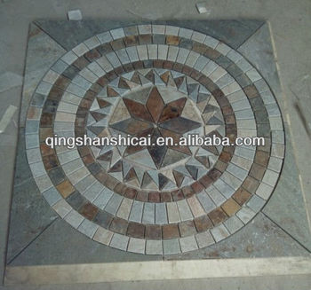 Chinese Mix Color Slate Round Circle Natural Decorative Stone Mosaic Floor Pattern Medallion Tiles