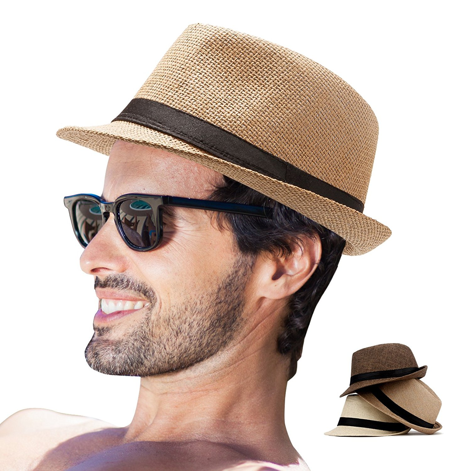 6130fbbab46 Get Quotations · Mens Straw Fedora Hats for Men Women Pack of 3 Sun Hats  Summer Beach Hat
