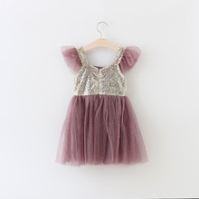 Wholesale Baby girl party dress 0-8 years old baby girl sequined dress kids clothes china