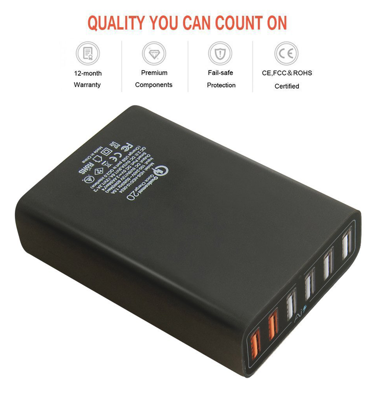 High Speed QC3.0 60W Multiport USB Charger 6-Port USB Desktop Charger Station Hub with PowerSmart Technology