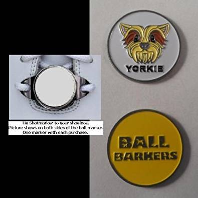 Ball Barkers Yorkie Yellow Ball Marker w/ Magnetic Shoelace Hold