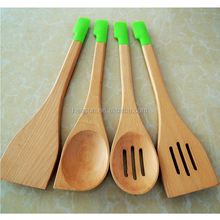 4 pcs natural cooking tools bamboo scoop soup ladle spoon wooden kitchen utensils set